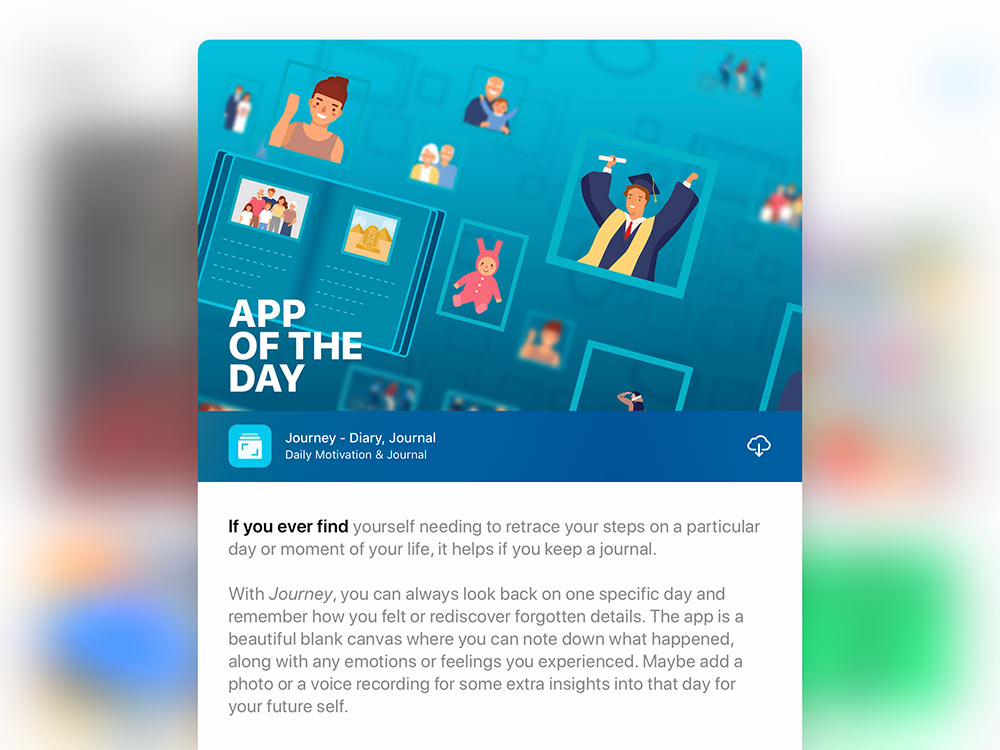 Journey journal and diary selected as Apple App of the Day.