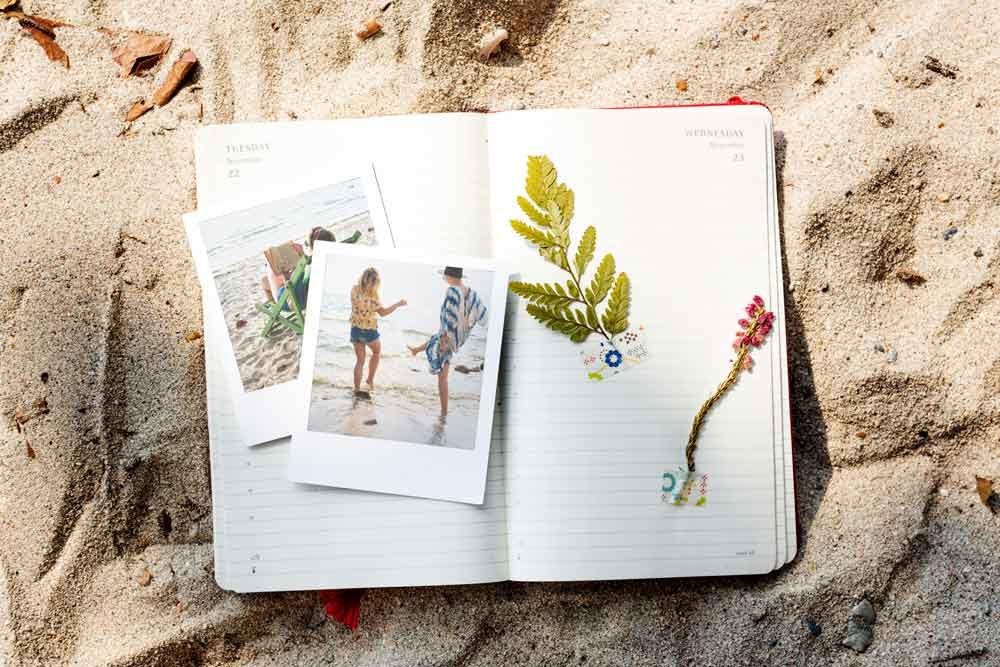 Travel journal and diary with memories of pictures.